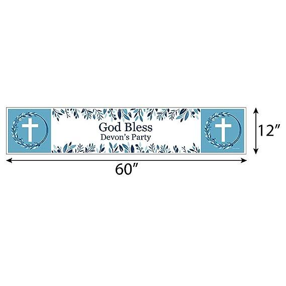 Amazon.com: Pancarta personalizada azul elegante cruz ...