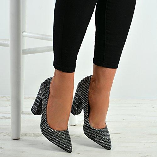 Damen Ferse Block Sparkle Glitter Neue Spitzschuh Damen Pumps Schwarz Schuhe Größen 5Fgqq7