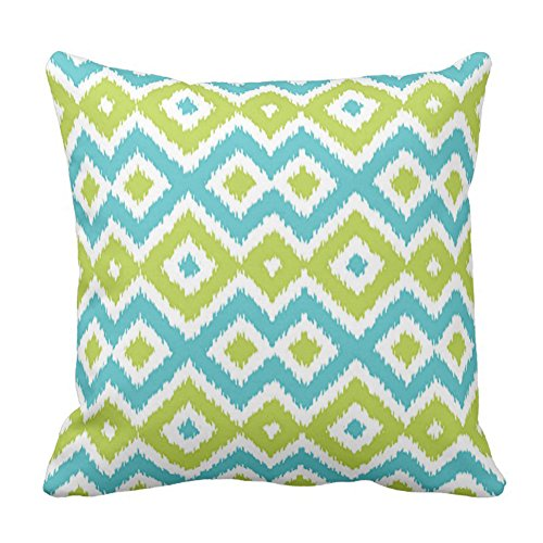 Lime Green Turquoise Blue Ikat Pattern Pillow Case, 16x16 Inch