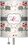 RNK Shops Elephants in Love 7'' Drum Lamp Shade Polyester (Personalized)