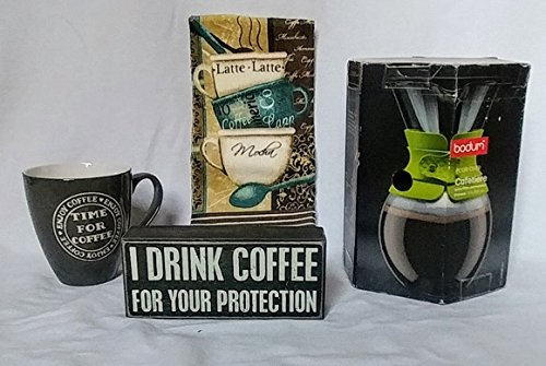 Bodum Pour Over Coffee Maker with Permanent Filter and Black Band, 34 Ounce, I Drink Coffee for Your Protection Box Sign, Time for Coffee 16 oz. Cup and Latte, Mocha, Capp Dish Towel Bundle - 4 piece by Bundled Products