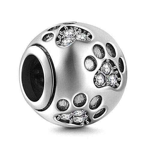 Dog Paws White Case - Dog Paw Print Charm 925 Sterling Silver Footprint Charm Animal Charm Pet Charm for Diy Charms Bracelet (White)