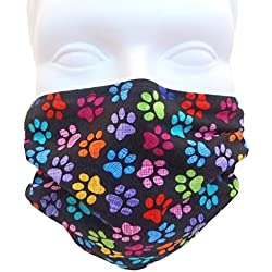 Breathe Healthy Face Mask. Colorful Paws Design; Comfortable, Reusable - Filters Dust, Pollen, Allergens, & Flu Germs with Antimicrobial Germ Killing