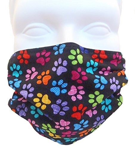 Breathe Healthy Face Mask; Comfortable, Washable, Reusable - Filters Dust, Pollen, Allergens, & Flu Germs with Antimicrobial Germ Killing; Colorful Paws Design