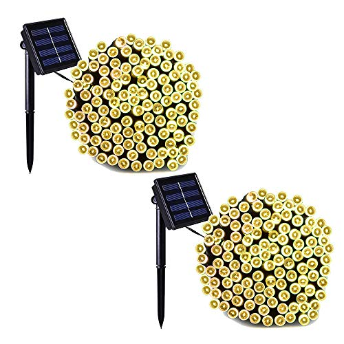 (Binval Solar Fairy Christmas String Lights, 2-Pack 72ft 200LED, Ambiance Lighting for Outdoor, Patio, Lawn, Landscape, Fairy Garden, Home, Wedding, Holiday Party and Xmas Tree(Warm White))