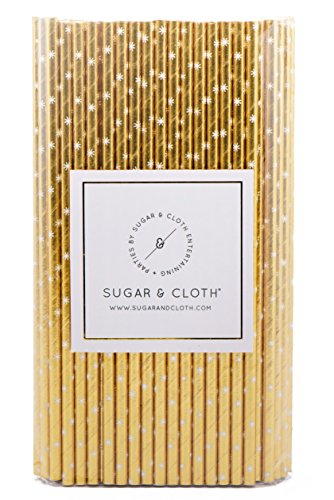 Sugar & Cloth Paper Straws, Gold Starburst, 125 - Starburst Pattern