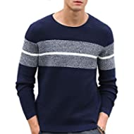 Aoli Ray Men's Casual Knitted Sweaters Long Sleeve Striped Pullover Tops Fashion Lightweight...