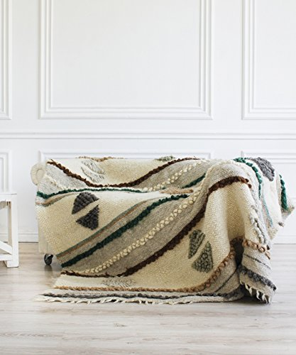 Bed Cover King 100% Wool Throw Blanket White Plaid Heavy Bed Coverlet / Cover Weighted Blanket
