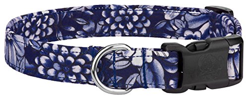 Country Brook Design Tropical Blue Flowers Designer Dog Collar-M ()