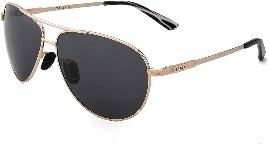 TAIQX Aviador Gafas de sol para los hombres y mujeres militares de titanio marco de gafas de sol polarizadas Premium