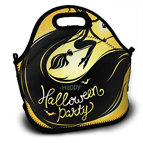 Insulated Neoprene Lunch Bag Thermal Carrying Gourmet Lunch Box Containers for Women Men Teen Girls Boys Kids For Outdoors,Work,Office,School - Happy Halloween Party Bright