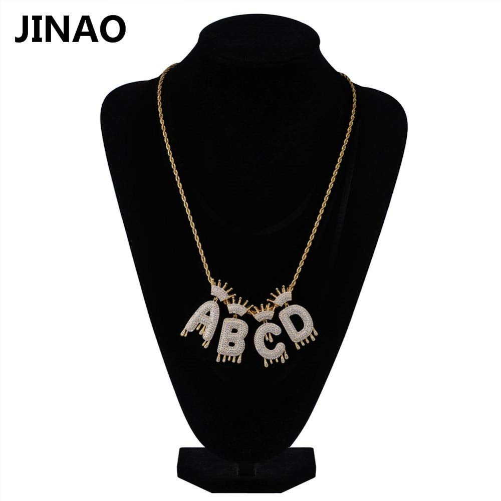 Metal Color: W, Main Stone Color: Gold, Length: Tennis Chain 18inch A-Z Custom Name Crown Drip Letters Necklaces /& Pendant Chain for Men Women Gold Silver Color Cubic Zircon Hip Hop Jewelry Gifts