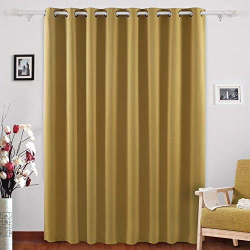 Deconovo Grommet Top Blackout Curtains Wide Curtains Window Curtains for Bedroom 80 x 84 Inch Mustard 1 Panel