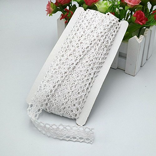 15 Yards White Cotton Lace Ribbon Trim,Vintage Style Thin Crochet Lace Ribbon Edge Trimmings for Craft and Wedding Bridal Decoration (2CM)