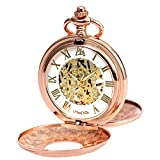 ManChDa Double Cover Roman Numerals Dial Skeleton Mens Women Pocket Watch Gift (4. Pink Gold)