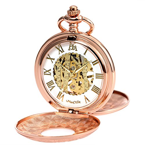 ManChDa Double Cover Roman Numerals Dial Skeleton Mens Women Pocket Watch Gift (4. Pink Gold) by ManChDa