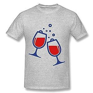 Madoling Organic Bamboo Gray T-shirt Wine Glasses (2c)++ Slim-Fit Basic O-Neck Small T-shirt Man