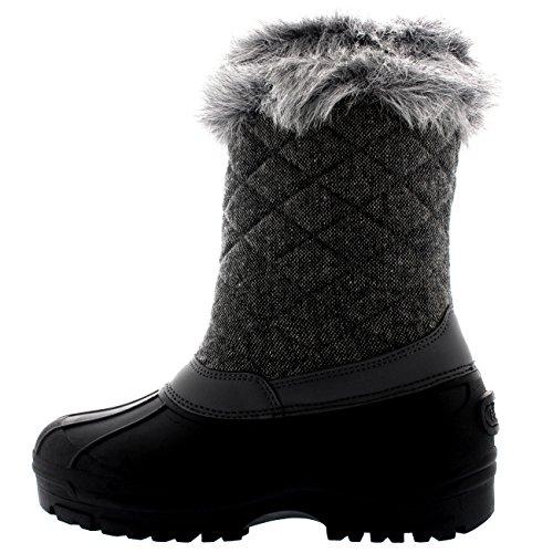 Polar Donna Toggle Anatra Inverno Termico La Suola In Gomma La Neve Impermeabile Metà Polpaccio Stivali - Grigio Tessile - UK7/EU40 - YC0400