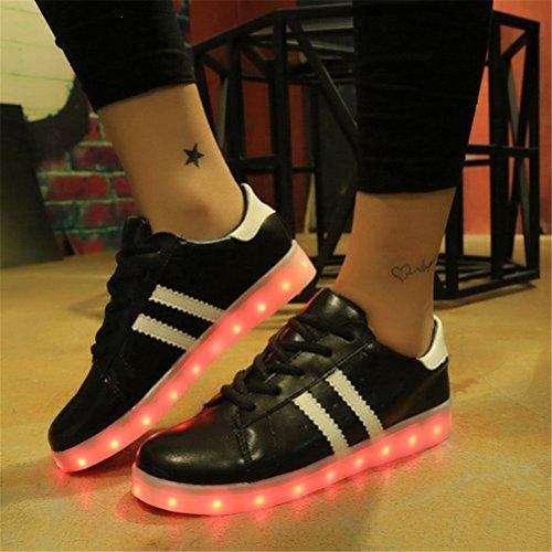 [Present:kleines Handtuch]JUNGLEST bunt LED Leuchtend Aufladen USB Erwachsene Paare Schuhe Herbst und Winter Sport schuhe Freizeitschuhe Leucht lau Schwarz