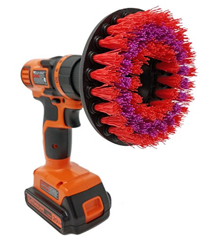 Beast Brush Stiff 5 Drill Brush Attachment Spin Power Scrubber Fast Easy Cleaning, Stiff Bristles Tough Heavy Stains in The Bathroom Shower Tub, Kitchen, Grout, Garage
