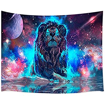 KOTOM Universe Decor Tapestry, Galaxy Lion, Wall Art Hanging for Living Room Bedroom Dorm Decor 60X40Inches Wall Blankets