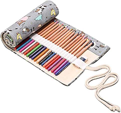 KUOZEN Estuche Pinturas para niños Estuche Enrollable Lápiz Casos Chicas Bolsa de lápiz Estuche para lápices Enrollable Lápiz Caso 48: Amazon.es: Hogar