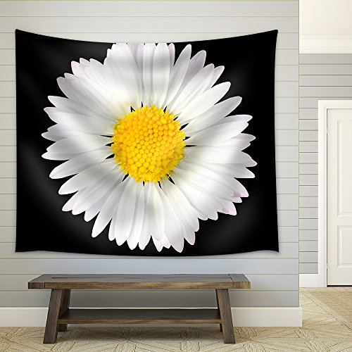 wall26 - Daisy Flower Isolated on Black Background - White with Yellow Center - Fabric Wall Tapestry Home Decor - 68x80 - White Daisy Single
