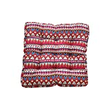 TMJJ Cotton Linen Floor Pillow Cushion Indian Style Square Seat Cushion Thicken Chair Wave Window Pad 21'' x 21'',Bohemia