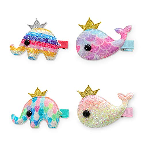 4Pcs Kids Infant Hairpin Baby Girl Cartoon animal motifs Hair Clip Set (A)