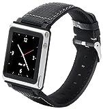 iWatchz BKALMSLVCRB Carbon Watch Wrist Strap for iPod Nano 6th Gen Silver Stitching