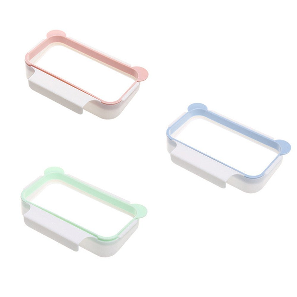 FILY 3 Pieces Garbage Bag Holder Hanging on The Kitchen Cabinet Door,Trash Bags Holder Over The Cupboard,Pink, Green, Blue