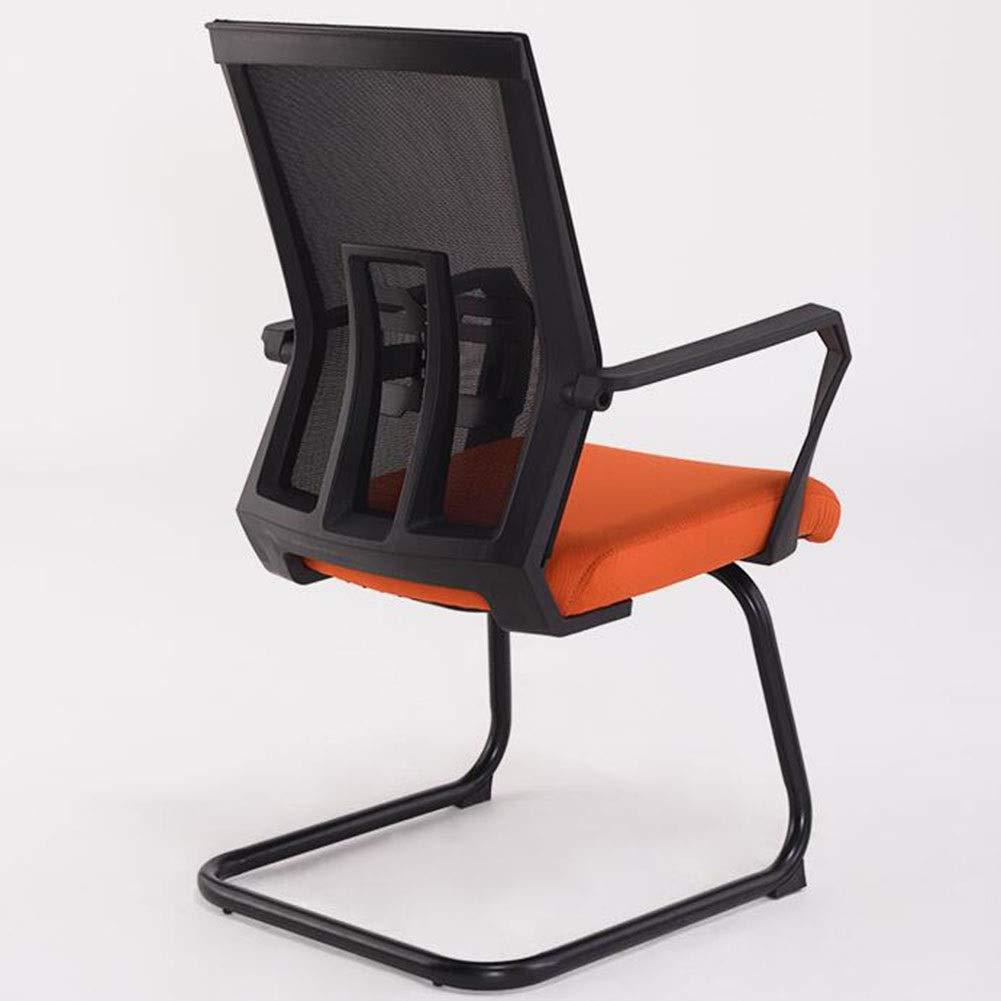 WYYY stolar kontorsstol ergonomisk bågformad mötesstol andningsbar nätstol stålbas skrivbordsstol belastning 150 kg hållbar stark (färg: Röd) apelsin