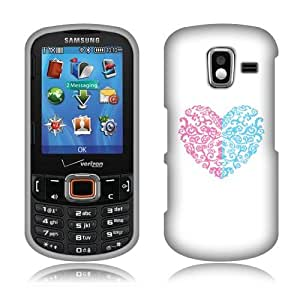 Fincibo (TM) Samsung Intensity 3 U485 Protector Cover Case Snap On Hard Plastic - Ornaments Heart, Front And Back