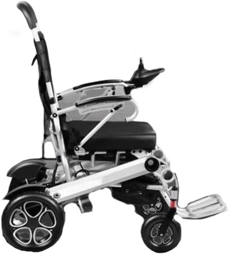 SPAQG 電動折りたたみアルミニウム合金輸送車椅子、ソリッドタイヤ、開閉式アームレスト、17.3インチシート、足に問題のある方に最適