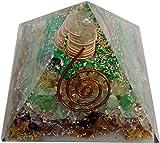 Crystal Cave Money Magnet Orgone Pyramid 70 MM Natural Stone Pyrite, Citrine, Green Aventurian, Tigereye, Crystal,Amethyst,Melecite, Magnetit
