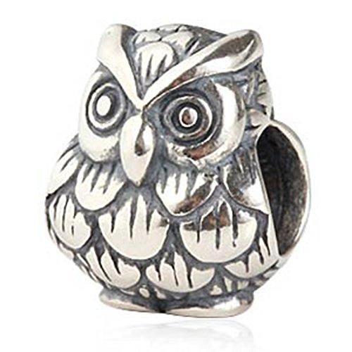 Owl Charm 925 Sterling Silver Animal Charm Bird Charm Wisdom Charm for Bracelet (A)