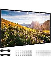Projectorscherm, 16:9 HD 4K Geen Crease Draagbare Video Film Screen Grommets voor Outdoor Indoor Home Theater (72 Inch)
