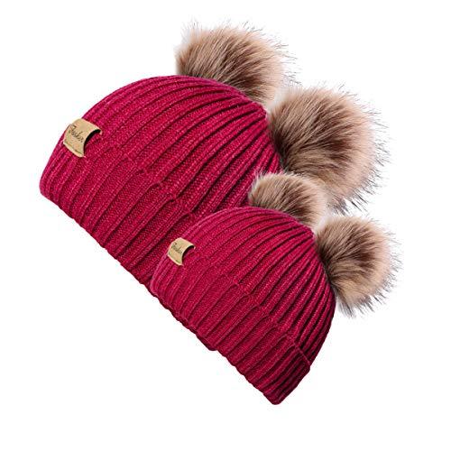 1b95e3105f692c Fasker 2 Pack Parent-Child Hats Winter Pom Pom Bobble Warm Knitted Beanie  Caps for