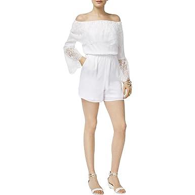 60ae84dc6d63 Amazon.com  Thalia Sodi Off-The-Shoulder Lace-Trim Romper (Bright ...