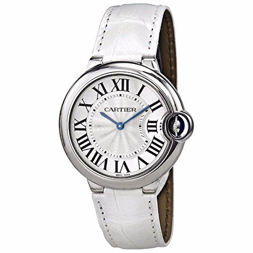 Cartier Ballon Bleu Plata Dial Color Blanco Perlado de la Mujer auténtica Alligator: Amazon.es: Relojes