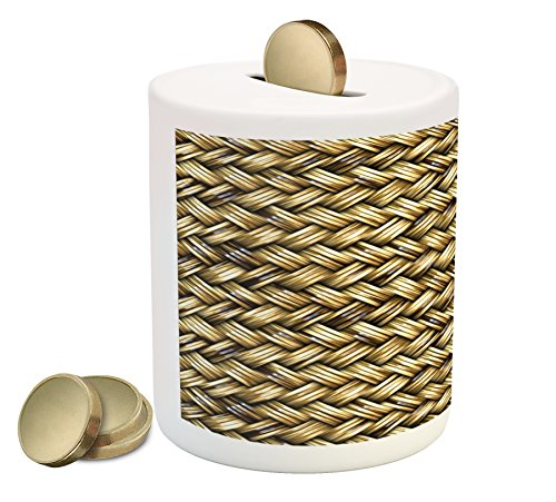 Abstract Piggy Bank by Lunarable, Rattan Basket Weave Pattern Natural Boho Country Style Geometric Monochrome Art Design, Printed Ceramic Coin Bank Money Box for Cash Saving, Gold (Bank Rattan)