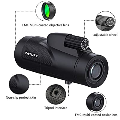 Monocular Telescopes, Tatufy 12x50 Low Night Vision Spotting Scope With Phone Mount Adapter, Tripod and Wireless Camera Shutter Remote Control for Bird Watching/Hunting/Camping/Travelling