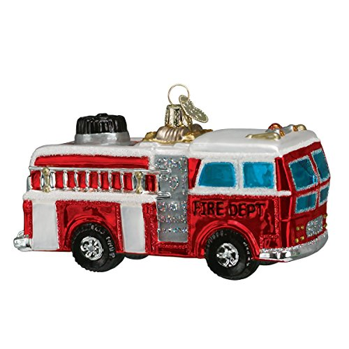 Old World Christmas Ornaments: Fire Truck Glass Blown Ornaments for Christmas - Ornament Fire Engine