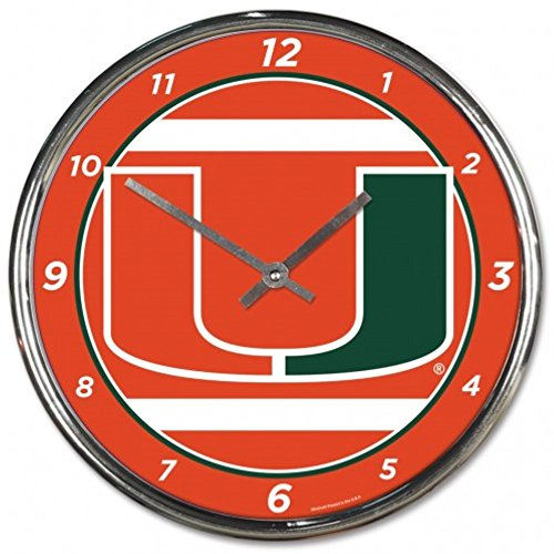 NCAA Miami Hurricaines WinCraft Official Chrome Clock by NCAA