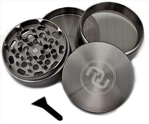 Novelty Wares™ - Grinder Herb 4 Piece Tobacco crusher spice metal 2.5 inch smoke chromium herbal alloy new hand Gun metal (Rod Iron Bar Stools)