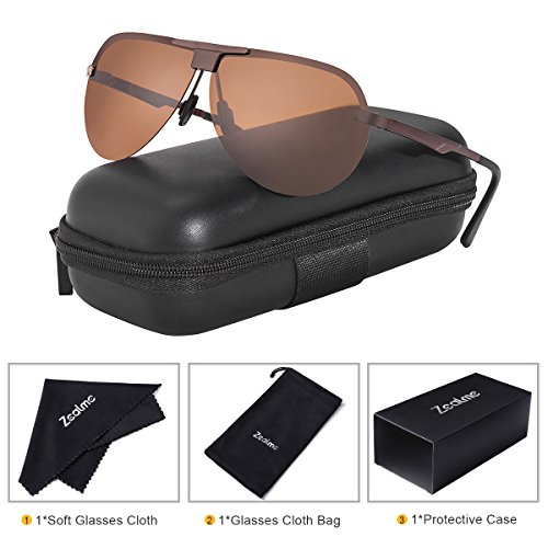 Zealme Polarized Aviator Fashion Anti Glare Pilot Driving Fashion Lightweight Durable Unbreakable Frame Cycling Fishing Bicycle Motorcycle Hiking Dark Sunglasses for Men Women (Brown) - Sunglasses Polarized Are Why Better