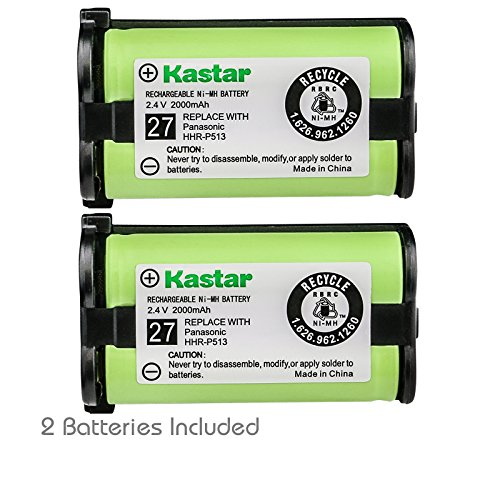 Kastar HHR-P513 Battery (2-Pack), Type 27, NI-MH Rechargeable Cordless Telephone Battery 2.4V 2000mAh, Replacement for Panasonic HHR-P513 HHR-P513A HHR-P513A1B HRR-P513A1B KX-TG2208 Etc.