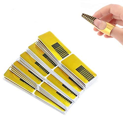 🥇 200 hojas oro Bandeja de papel de manicura,Moldes Uñas Etiqueta de Formas de Arte de Uñas