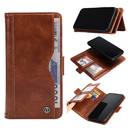 Case for iPhone Xs MAX, iPhone Xs MAX Wallet Case [Detachable Folio] iPhone Xs MAX Leather Case [Premium Vegan Leather] [2 in 1] Flip Case Cover for iPhone Xs MAX 6.5inch (Brown, XS MAX)