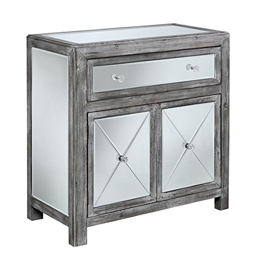 Convenience Concepts Gold Coast Collection Vineyard Mirrored Cabinet, Weathered Gray/Mirror